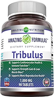 Amazing Formulas Tribulus Extract Dietary Supplement - 1000 MG Tablets- Standardized to Contain Min. 45% Saponins - Supports Lean Muscle Mass, Promotes Cardiovascular Health, Immune System (90 Count)
