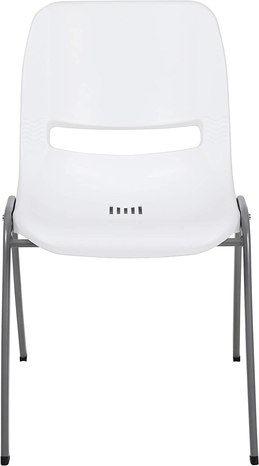 Capacity Gray Ergonomic Shell Stack Chair with Black Frame Flash Furniture HERCULES Series 880 lb