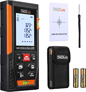 Tacklife HD60 Classic Laser Measure 196Ft M/In/Ft Mute Laser Distance Meter with 2 Bubble Levels, Backlit LCD and Pythagor...