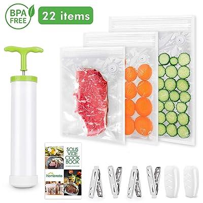 HOMENOTE Sous Vide Bags 15 Reusable Vacuum Food...