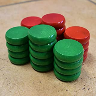 26 Tournament Size Crokinole Discs with a 5x7in Cloth Pouch (Red & Green)