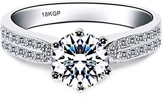 AndreAngel White Gold Plated 18K 3 Microns Thickness Over Sterling Silver Solid 925 Engagement Wedding Ring Women 6 mm 0.75 Carats Cubic Zirconia 5A+ Bridal Marriage Proposal Valentine's