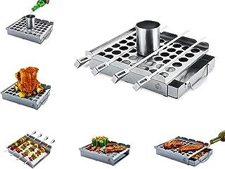 Boleefun - Multi-Functional Grilling Accessory,Kebab Rack,Beer Chicken Roaster,Chili Pepper Rack,Smoking Platform,Wide Ske...