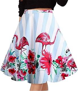 Women's Pleated Vintage Skirts Floral Print Casual Midi Skirt