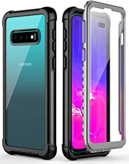 Temdan Samsung Galaxy S10 Plus Case Built-in Screen Protector Full Body Protect Support Wireless Charging,Heavy Duty Dropproof Case for Samsung Galaxy S10 Plus 2019 NO Fingerprint ID (Clear/Black)