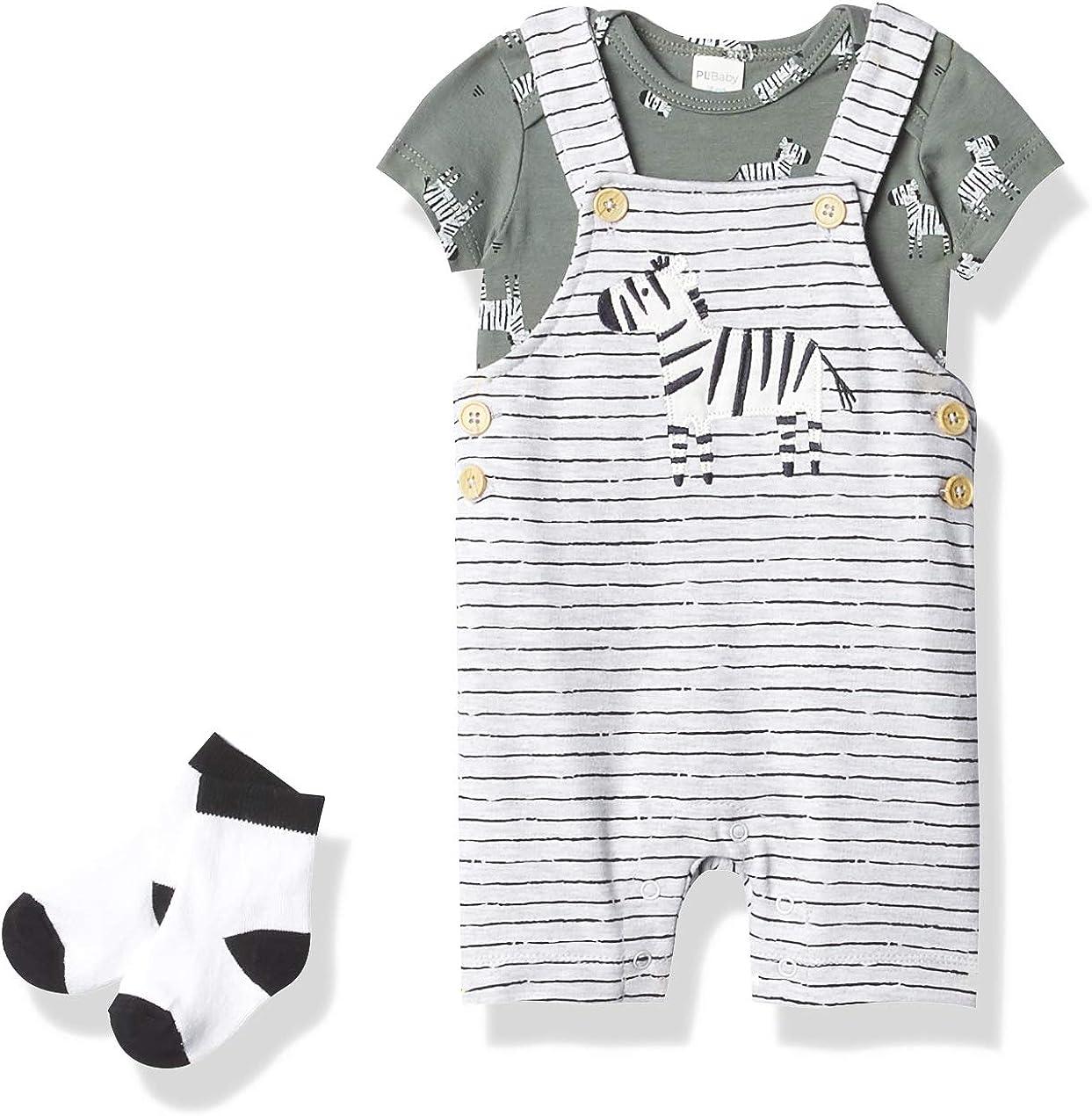 Petit Lem baby-boys Baby 3pc Set: S/S Diaper Shirt, Overalls + Socks Knit