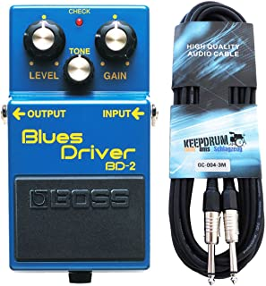 Boss BD de 2Blues Driver Efecto dispositivo para guitarra Keepdrum de guitarra cable 3m
