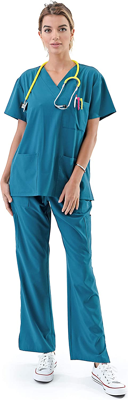 Women's Medical Uniform Scrubs Set – 4 Way Stretch 8 Pocket V-Neck Top with Drawstring Pants Nursing Dental