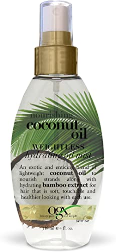 OGX Nourishing + Coconut Oil Weightless Hydrating Oil Hair Mist, Lightweight Leave-In Hair Treatment with Coconut Oil...