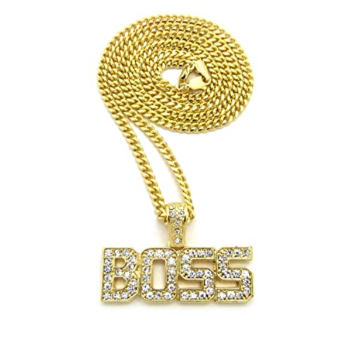 b6d67aeb7 Crown Gold Iced Out BOSS Pendant with 18