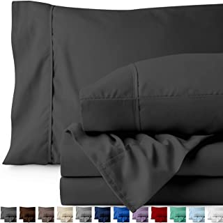 Bare Home Twin XL Sheet Set - College Dorm Size - Premium 1800 Ultra-Soft Microfiber Sheets Twin Extra Long - Double Brushed - Hypoallergenic - Wrinkle Resistant (Twin XL, Grey)