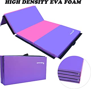 PreGymanstic 8ftx4ftx2in Folding Gymnastics Tumbling Mat, 18 OZ Vinyl Cover with Extra Firm EVA Foam, Exercise Mat, Gym Mat, Martial Art Mat, Easy to Clean