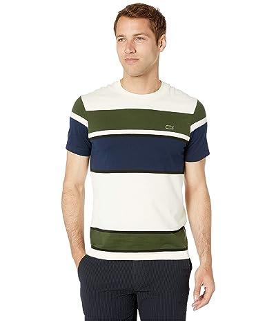 Lacoste Short Sleeve Color Block Jersey T-Shirt (Geode/Black/Caper Bush/Navy Blue) Men