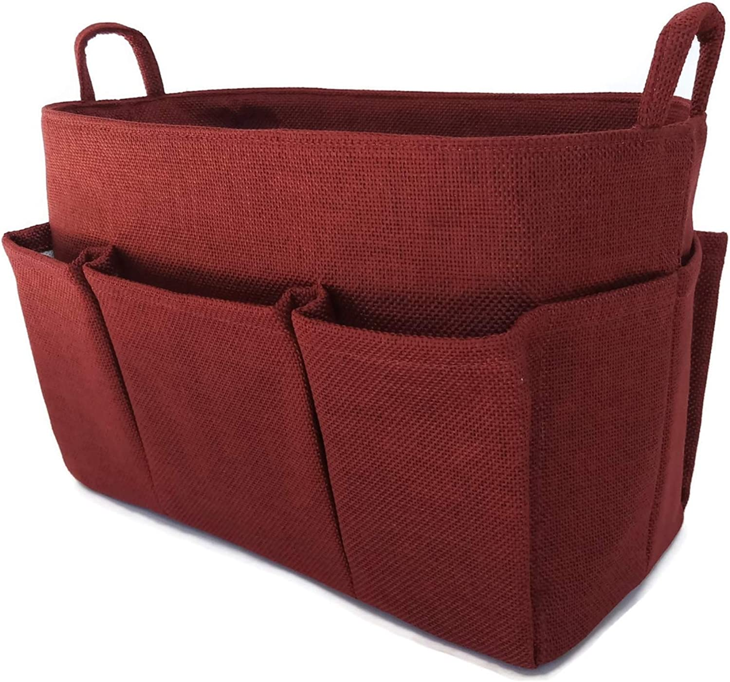 K&M Quality Product Purse Organizer Insert Medium Handbag Tote Bag 10  Pockets Lightweight Inside Sturdy LV Speedy 30 (Wine Red)