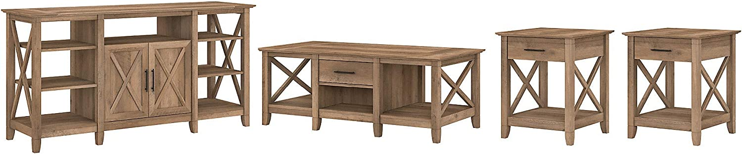 Bush Furniture Key West Tall TV Stand End Set 2 of Max 65% OFF Cheap mail order shopping Coffee with T