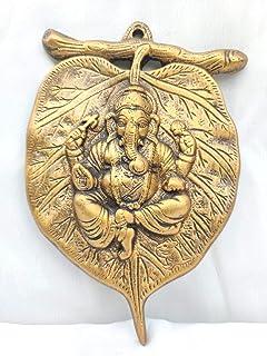 Akriti Brass Ganesh on Leaf(L*B*H - 14 * 1.7 * 21CM) Metal Lord Ganesha On Leaf, Ganesh Wall Hanging for Entrance Door, Li...