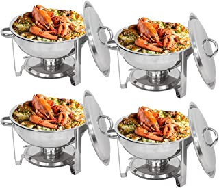 Super Deal Full Size Round Chafing Dish 5 Quart Stainless Steel Tray Buffet Catering, Dinner Serving Buffer Warmer Set (4)