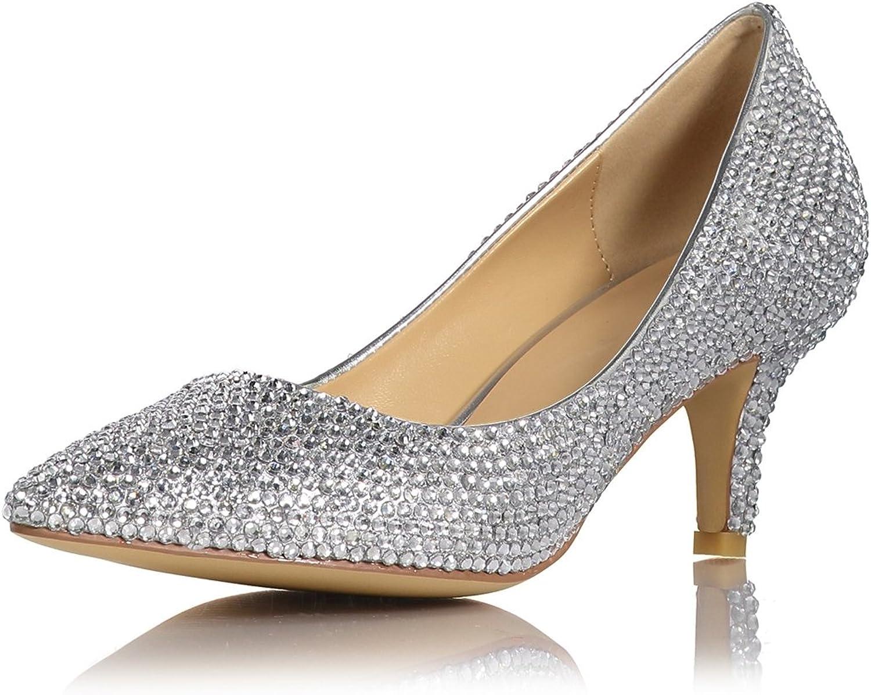 Miyoopark LS0654 Women's Pointed Toe Crystals Studded 2.5  Low Heel Bridal Wedding Formal Pumps