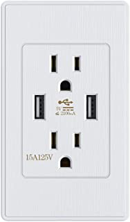 Kungfuking Standard outlet 2 Socket 15 Amp Electrical Receptacle Outlet & Dual USB Ports Wall Mount with Wall Plate Power Plate