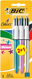BIC 4 colores Shine Bolígrafo Retráctil punta media (1,0