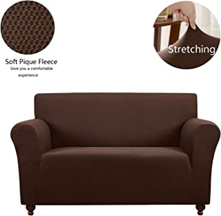 QSY Home Stretch Loveseat Slipcover Sofa Cover Furniture Protector Dog Cat Pet Slipcovers Machine Washable Skid Resistance Polyester Spandex Fleece Fabric (Loverseat,Chocolate)