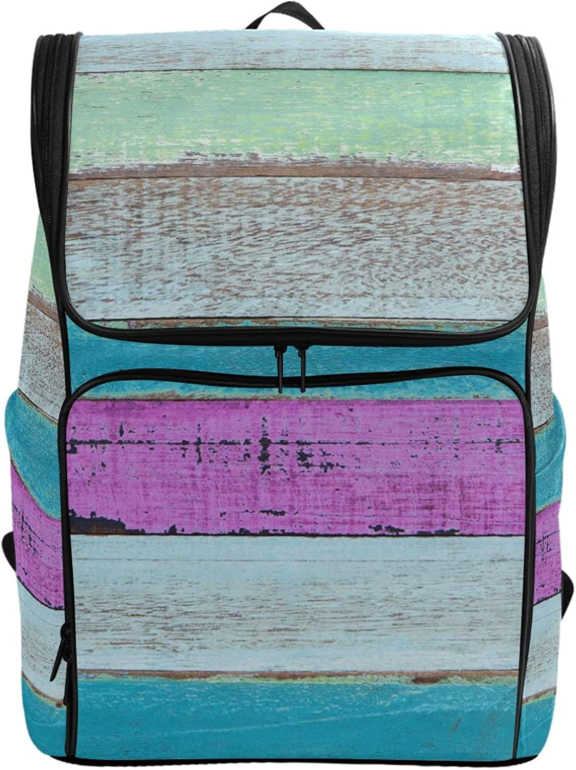 MONTOJ Faded color Wood Board Pattern Outdoor Hiking Backpack Hiking & Travelling Backpack with Laptop Compartment & Camping Backpack