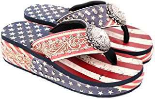 Montana West Western Wedge Flip Flops for Women Bling Comfort Thong Style Summer Sandals for Outdoor