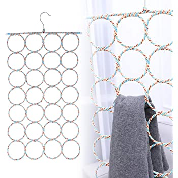 WINOMO 2 Pcs Scarf Hanger Organizer Holder, Multifunctional 28 Count Loops Scarf Racks, Tie Racks Closet Organizer and Storage (Mixed Color)