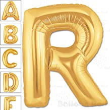 40 Inch Giant Jumbo Helium Foil Mylar Balloons for Party Decorations (Premium Quality), Matte Gold, Letter R
