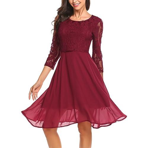 68ba317a3fa5 Finejo Damen Abendkleid Elegant Cocktailkleid Ballkleid Hochzeit festlich  kleid mit Spitze Chiffonkleid Partykleid knielang