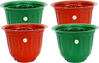 Gate Garden 10 Inch Antique Look on Body Plastic Planter (Colour May Vary) Set of 4