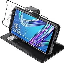 ebestStar - Cover ASUS Zenfone Max M1 ZB555KL Custodia Portafoglio Pelle PU Protezione Libro Flip, Nero + Pellicola Vetro Temperato [Apparecchio: 147.3 x 70.9 x 8.7mm, 5.5'']