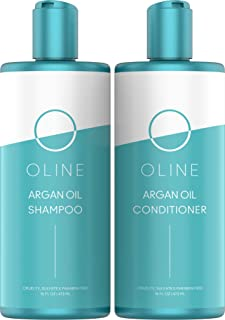 Oline Naturals Moroccan Argan Oil Shampoo & Conditioner Set - Sulfate free, (2 X 16 oz/473 ml) Moroccan Argan Oil Shampoo for Men and Women & Color Treated Hair (Shampoo & Conditioner Set)
