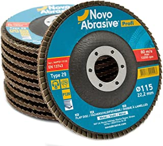 10 PCS Flap Grinding Disc 4.5 x 7/8 Inch 120 Grit Type 29 Aluminum Oxide Sanding Flapper Wheel by NOVOABRASIVE