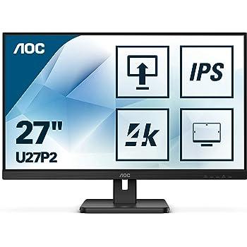AOC U27P2 - Monitor de 68 cm (27 Pulgadas, HDMI, DisplayPort, USB hub, Tiempo de Respuesta de 4 ms, 3840 x 2160, 60 Hz, Pivot), Color Negro: Amazon.es: Informática