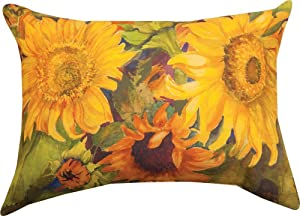Manual Woodworkers Sunny Faces Sunflower Rectangle 18 x 13 Inch Indoor Outdoor Throw Pillow