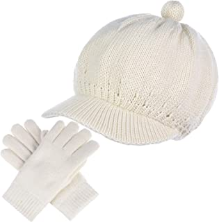 Be Your Own Style BYOS Womens Winter Plush Fleece Lined Newsboy Knit Cap Cabbie Hat & Gloves Set