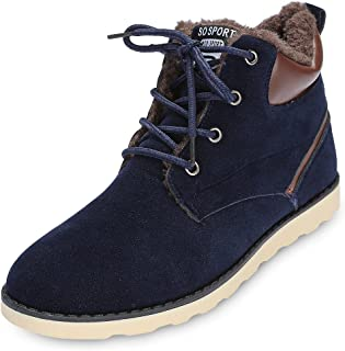 Trendy Round Toe Lace-up Fleece Flat Heel Men Ankle Boots
