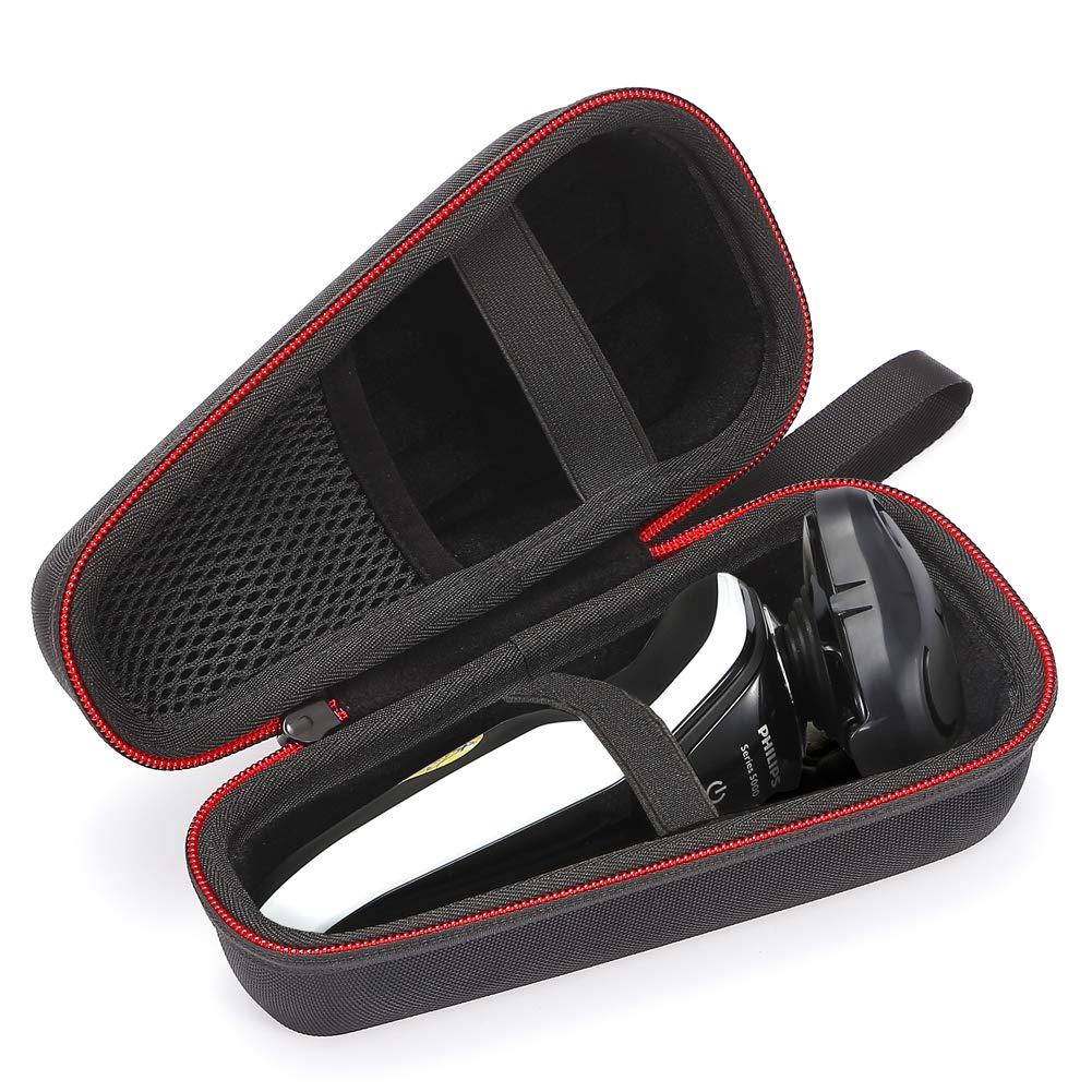 Hard Case Travel Carrying Bag for Philips Norelco Men Shaver Razor fits 4500 3100 6400 AT830/46/4100 AT810/46, (Device and Accessories are not Included) - Black(Black Lining)