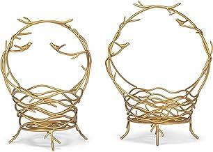Golden Birds Nest 22 x 11.5 Metal Decorative Table Basket with Handle Set 2
