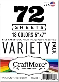 """CraftMore 5x7"""" Cardstock Variety Essential Pack 65lb 72 Sheet"""