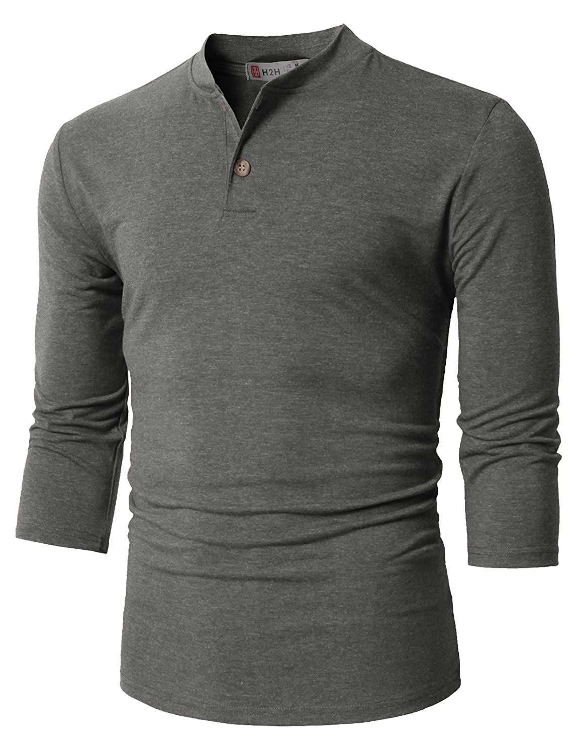 H2H Mens Casual Slim Fit Henley Shirts Lightweight Thin Fabric and Various Styles