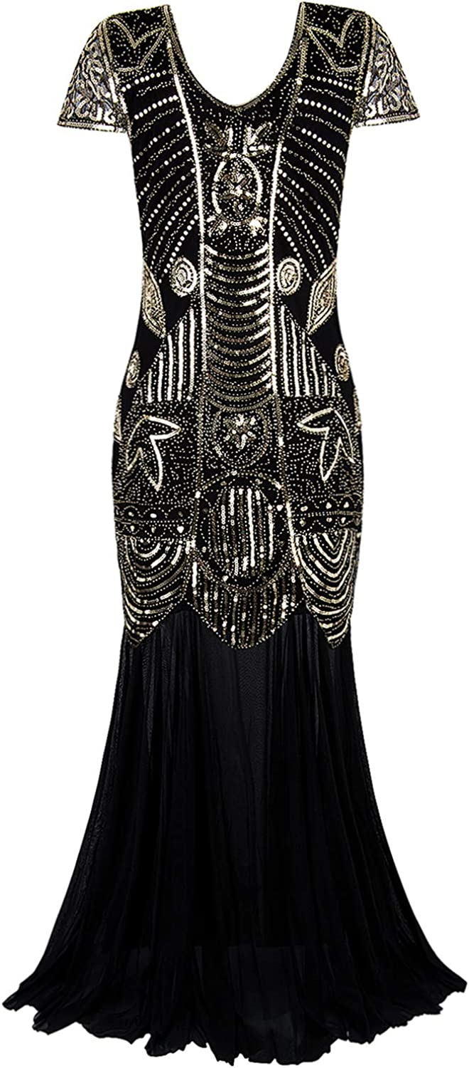 Vijiv 1920s Long Prom Gowns Sleeves Beaded Sequin Art Deco Evening Formal Dress