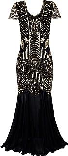 (ヴィジヴ) Vijivフォーマルロングドレス レディース 1920年代風 アールデコ プロムガウン 袖ビーズ スパンコール イブニングドレス