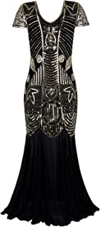 1920s Long Prom Gowns Sleeves Beaded Sequin Art Deco Evening Formal Dress