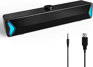SHEON PCスピーカー サウンドバー USB ステレオ 大音量 高音質 重低音 スピーカーばー 有線 コンパクトUSB給電 AUX接続 MP3/テレビ (SP-YM)