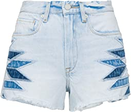 The Barrow Hi Rise Denim Short with Patchwork Detail in Borderlines