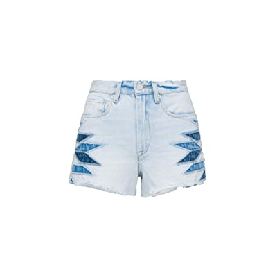 Blank NYC The Barrow Hi Rise Denim Short with Patchwork Detail in Borderlines (Borderlines) Women