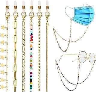 PHALIN 10PCS Mask Glasses Lanyard for Women Girls Face Cover Chain Holder Anti-Lost Gold Figaro Paperclip Snake Eyeglasses...