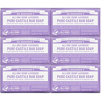 Dr. Bronner's - Pure-Castile Bar Soap (Lavender, 5 ounce, 6-Pack) - Made with Organic Oils, For Face, Body and Hair, Gentle and  Moisturizing, Biodegradable, Vegan, Cruelty-free, Non-GMO